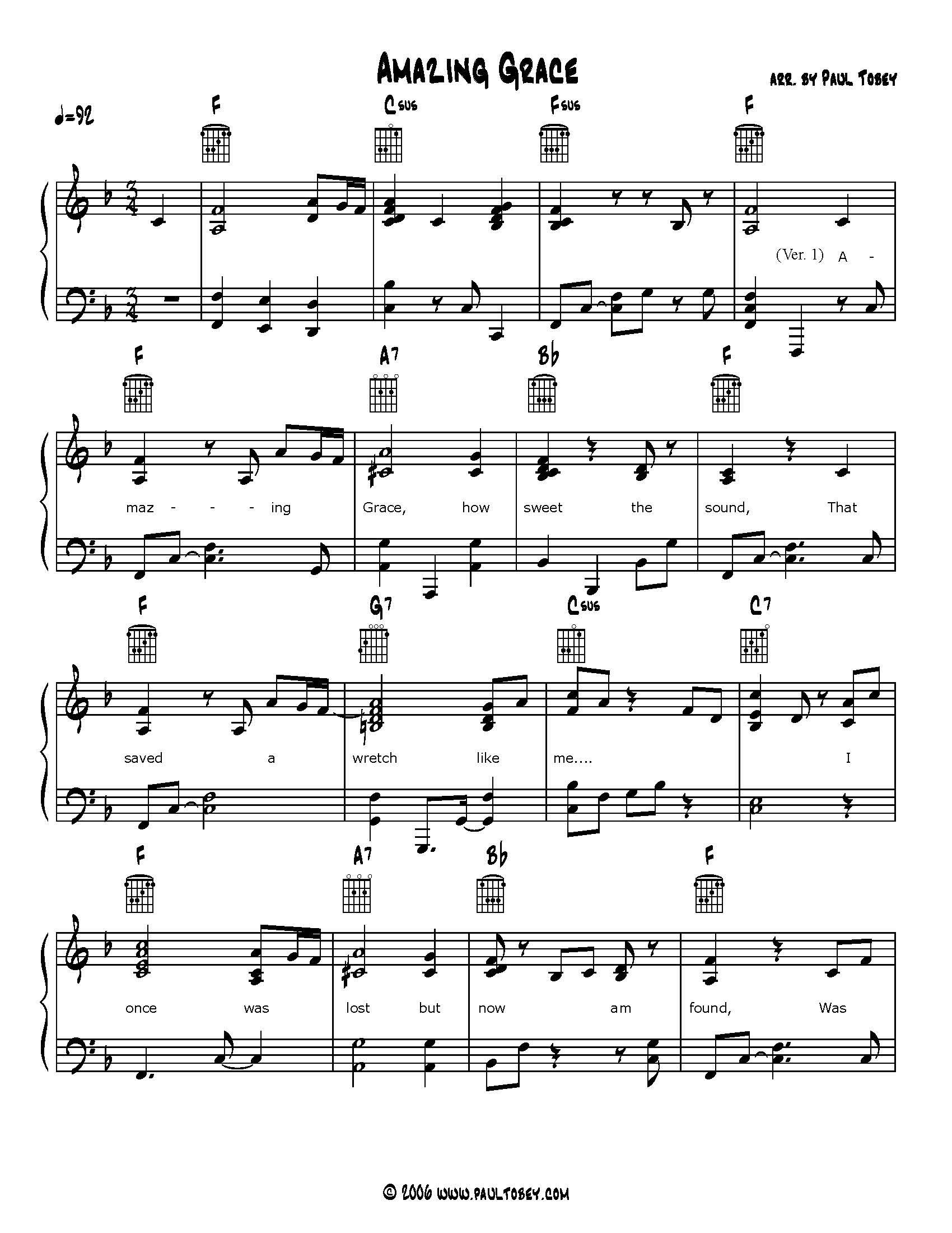 Amazing Grace Sheet Music PDF Piano & Guitar   Jazzmentl